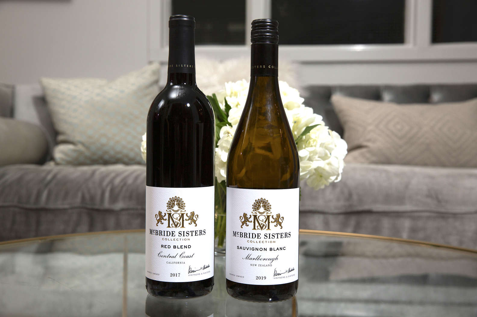 Red Blend and Sauvignon Blanc in the living room McBride Sisters Collections