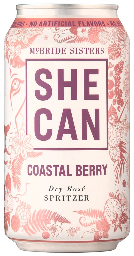SHE CAN Coastal Berry Dry Rosé Spritzer 4-Pack